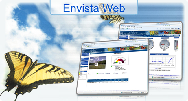 <h3>Envista Web</h3>Internet Web Site System from Envitech Ltd, Prepared for National & Regional AQM Networks designed to allow you to publish your Envista ARM environmental data.