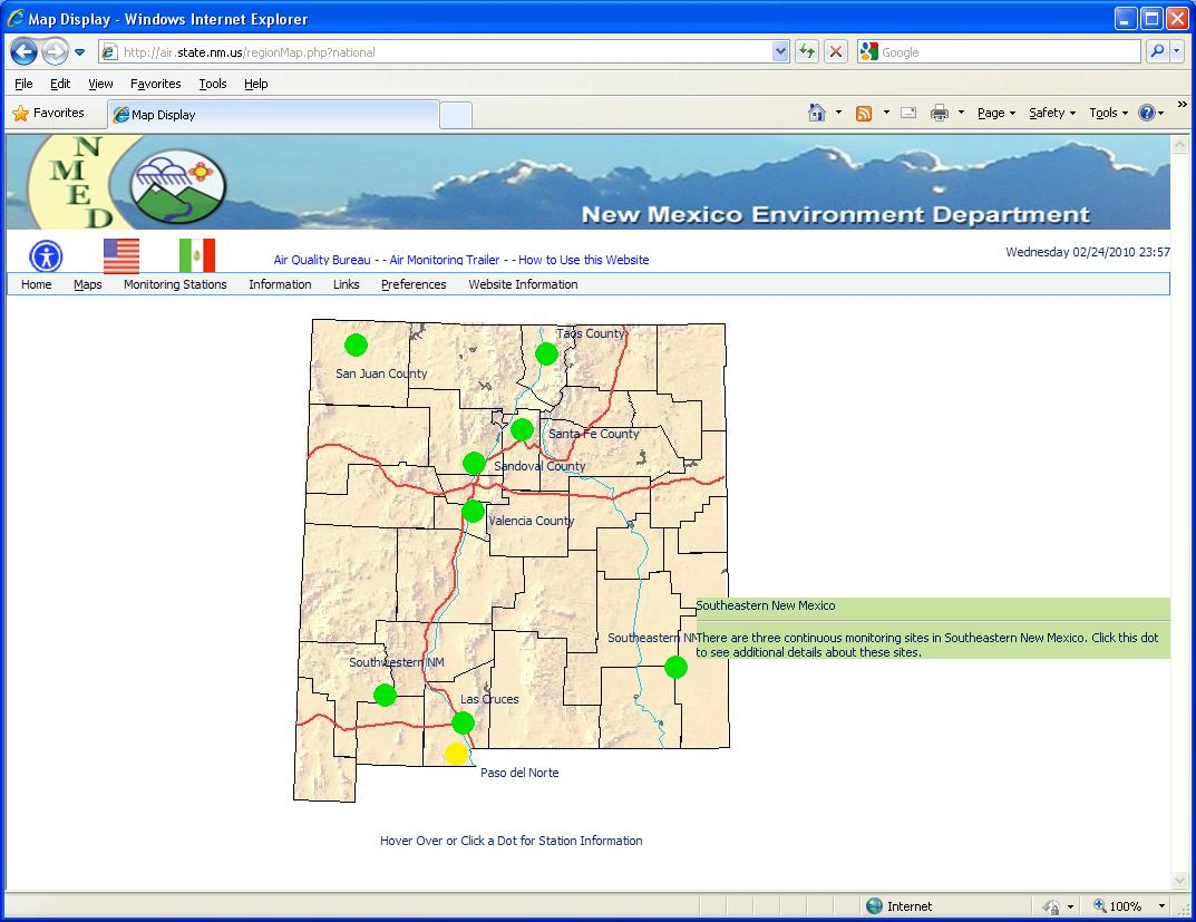 "Envitech EnviWeb AQM Station Map-Example fron Mew Mexico Site.This map reflecting the entire state, while the green spots representing the regions. The mouse is now moving on the Southeastern New Mexico Region.Clicking on it will display the Region Map for this region, as will appear in the ""Region Map"" section."