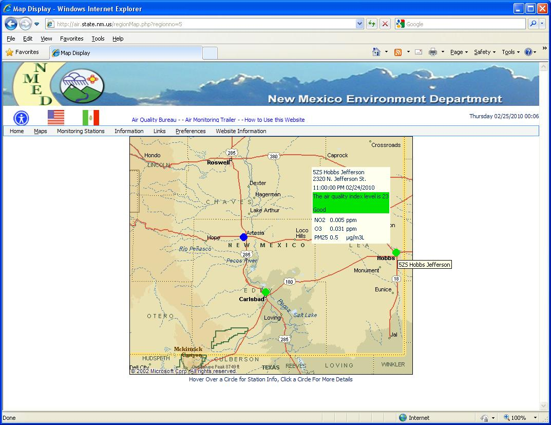 "Envitech EnviWeb Regional Map-Example for Region Map of ""Southeastern New Mexico"" region. The spots indicate the stations,and thier color indicates the air quality index. In this example the mouse is now over the ""525 Hobbs Jefferson"" state.Clicking on this symbol will display the station information screen of this AQM/CEM Station."