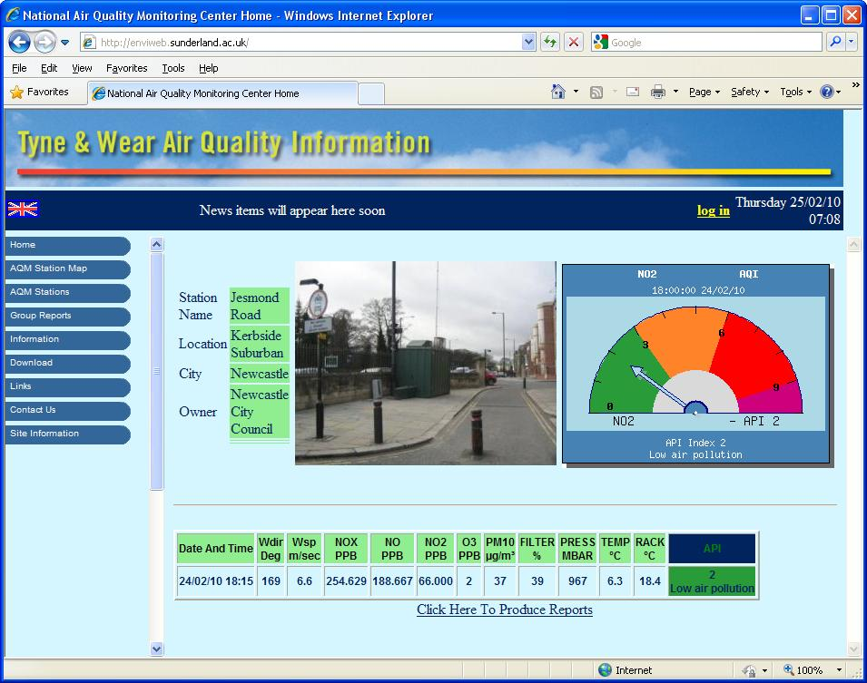 "Envitech EnviWeb Station Information Summary-Example for ""Jesmond Road"" station, indicate its picture, last recieved data and a chart that follows the user's selection. Now the user has selected to present in the chart the air quality index of the station. Another option is to display a graph for a pullutant or a rose for wind direction channel."